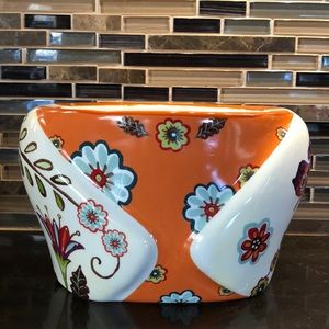Cracker Barrel floral stitch work planter